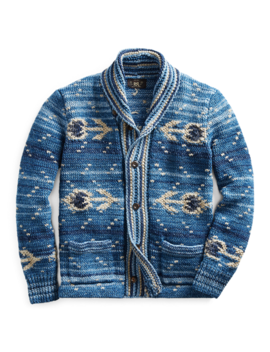 Hand Knit Indigo Cardigan by Ralph Lauren