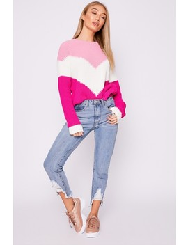 Hayleigh Pink Chevron Colour Block Jumper by In The Style