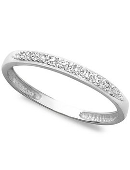 14k White, Yellow, Or Rose Gold Ring, Pave Diamond Accent Band by Macy's