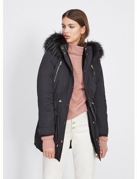 Black Faux Fur Lined Luxe Parka by Miss Selfridge