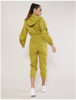 Green Hooded Ulitilty Jumpsuit by Public Desire