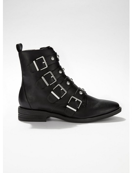April Flat Studded Boots by Miss Selfridge