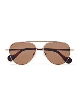 Aviator Style Rose Gold Tone Sunglasses by Moncler