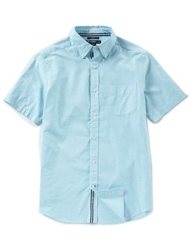 Slim Fit Solid Oxford Short Sleeve Woven Shirt by Cremieux