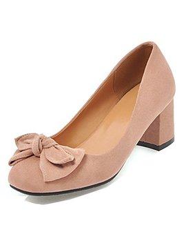 Aisun Women's Round Toe Pumps With Bow   Cute Block Shoes Low Cut   Slip On Medium Heel by Aisun