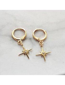 North Star Hoop Earrings   Dainty Mini Star Diamond Ear Huggies   Gold North Star Hoops by Etsy