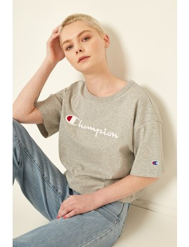 Champion Cropped Script Tee Oxford Heather by Universal Store
