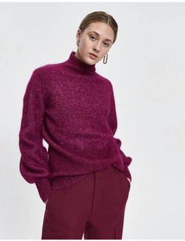 Theo Mohair Knit In Magenta Plum by Just Female