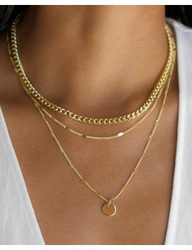 3 Layer Necklace, Layered Necklace Set, Gold Disc Necklace, 3 Layer Chain Necklace, Thick Gold Chain Necklace, Gold Layering Necklace by Etsy