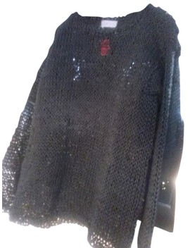 Thick Plastic Feel Cable Knit Black Sweater by Yohji Yamamoto
