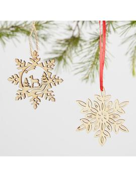 12 Pack Wood Snowflakes Boxed Ornaments Set Of 2 by World Market