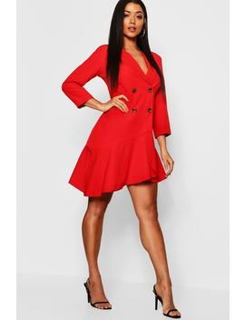 Asymmetric Ruffle Hem Blazer Dress by Boohoo
