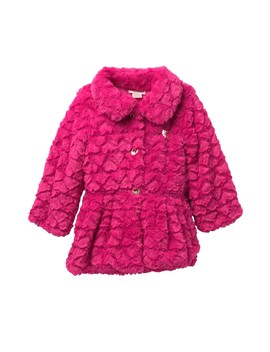 Fuchsia Embossed Heart Faux Fur Jacket (Toddler Girls) by Juicy Couture