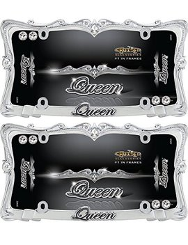 (2 Pack) Cruiser Accessories 22630 Chrome/Clear 'queen' License Plate Frame With Fastener Caps by Cruiser Accessories