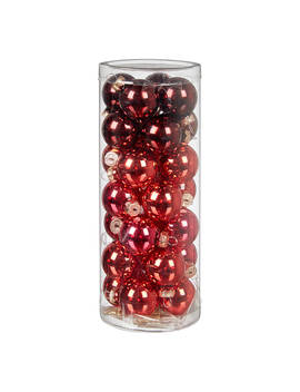 John Lewis & Partners Ruby Mini Glass Baubles, Tube Of 28, Red/Multi by John Lewis & Partners