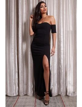 Kayleigh Black Bardot Split Maxi Dress by Misspap