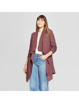 Women's Waffle Knit Open Layering Jacket   Knox Rose™ Red by Knox Rose