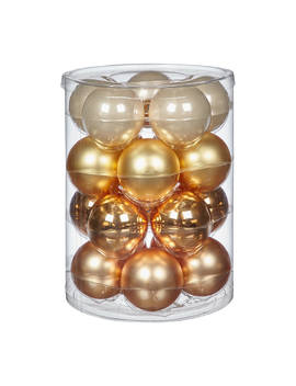 John Lewis & Partners Gold Glass Baubles, Tub Of 20, Gold/Multi by John Lewis & Partners