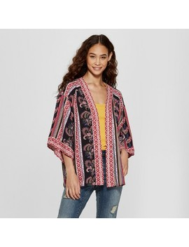 Women's 3/4 Sleeve Printed Kimono Jacket   Xhilaration™ Black by Xhilaration
