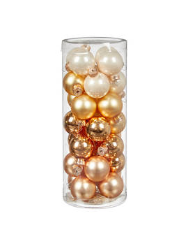 John Lewis & Partners Gold Mini Glass Baubles, Tube Of 28, Gold/Multi by John Lewis & Partners