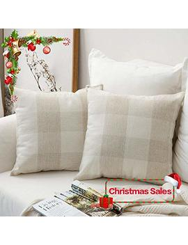 Miulee Pack Of 2 Christmas Decoration Classic Retro Checkers Plaids Cotton Linen Soft Soild Square Throw Pillow Covers Home Decor Design Cushion Case For Sofa Bedroom Car 20 X 20 Inch 50 X 50 Cm by Miulee