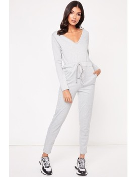 Milly Grey Long Sleeve V Neck Jumpsuit by Misspap