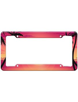 Graphics And More Blank Tropical Beach Palm Tree Sunset Pattern License Plate Frame by Graphics And More