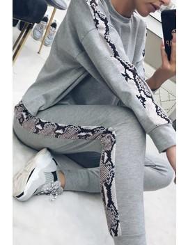Stacey Grey Snake Side Stripe Loungewear Set by Misspap