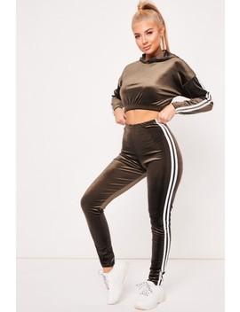 Sarah Khaki Stripe Velour Cropped Co Ord Set by Misspap