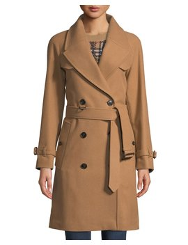 Cranston Wool Blend Short Trench Coat by Neiman Marcus