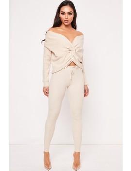 Ellis Beige Ribbed Twist Front Loungewear Set by Misspap