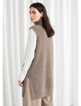 Cotton Blend Knit Turtleneck Vest by & Other Stories