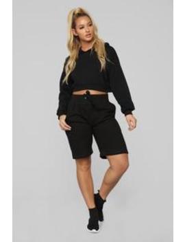 Stole Your Boyfriend's Oversize Short   Black by Fashion Nova