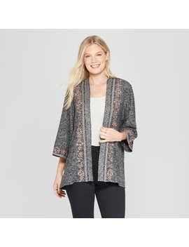 Women's Long Sleeve Embroidered Open Layer Kimono Jacket   Knox Rose™ Charcoal by Knox Rose
