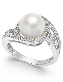 White Cultured Freshwater Pearl (9mm) And Diamond (1/3 Ct. T.W.) Swirl Ring In 14k White Gold (Also Available In 14k Yellow Gold & 14k Rose Gold) by Macy's