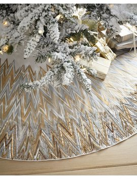 Chevron Tree Skirt With Beaded Edge by Neiman Marcus