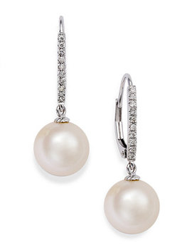 14k White Gold Earrings, Cultured Freshwater Pearl (10mm) And  Diamond ( 1/10 Ct.T.W) Leverback Earrings (Also Available In 14k Yellow Gold Or Pink Cultured Freshwater Pearls In 14k Rose Gold) by Macy's