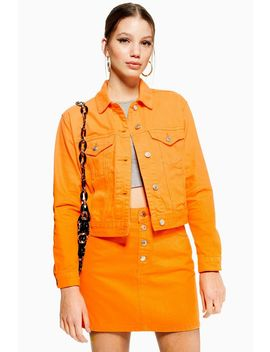 Orange Fitted Denim Jacket by Topshop