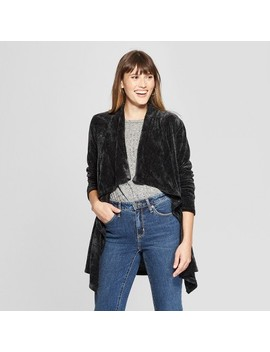 Women's Long Sleeve Chenille Open Layering Jacket   Knox Rose™ Black by Knox Rose