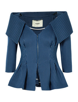 Pinstriped Off The Shoulder Cotton Blend Twill Blazer by Fendi
