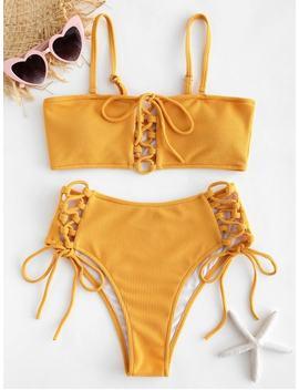 Ribbed Lace Up Bikini Set   Bright Yellow M by Zaful
