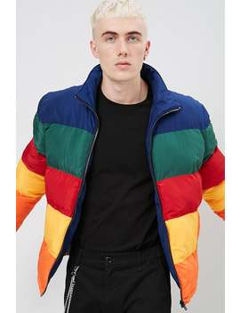 Multicolor Colorblock Puffer Jacket by Forever 21