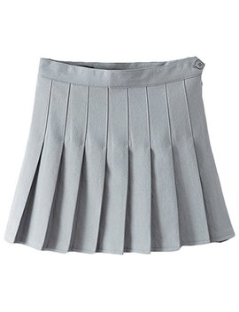 Summer Girls Teens High Waist Pleated Mini Skirts School Skirt Uniform Women Solid A Line Skirts Flared Tennis Skater Casual Skirts Skorts With Inner Shorts Plus Size by Iwemek