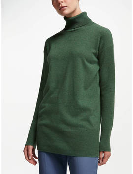 John Lewis & Partners Cashmere Relaxed Roll Neck Sweater, Grass Green by John Lewis & Partners