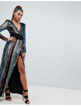 Club L Rainbow Sequin Wrap Front Maxi Dress by Club L