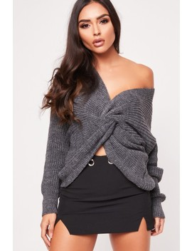 Lara Charcoal Twist Front Knitted Jumper by Misspap
