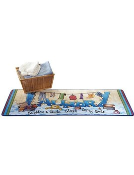 Collections Etc Extra Long Colorful Laundry Bubbles And Suds Floor Runner Rug by Collections Etc
