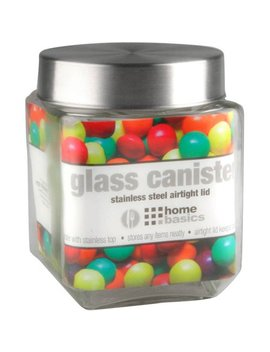 Home Basics Glass Square Canister With Steel Lid by Canning & Preserving