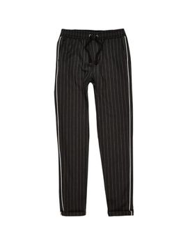Boys Grey Pinstripe Piped Trousers by River Island