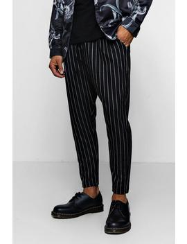Pinstripe Smart Jogger Trousers by Boohoo